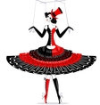 hand puppet in black-red vector image vector image