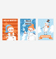 hello winter set posters greeting cards vector image