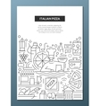 italian pizza - line design brochure poster vector image