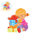 little girl is going to open vector image