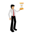man hold sandglass vector image vector image