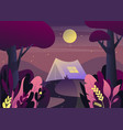 nature landscape with tent at night or twilight vector image vector image