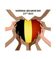 nayional day of belgium with hands vector image vector image