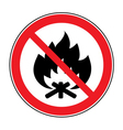 no fire bonfire sign vector image vector image