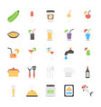 pack of foods and beverages flat icons vector image vector image