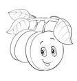 plum character with big eyes joyful weighs on a vector image vector image