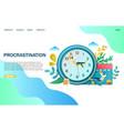 procrastination website landing page design vector image