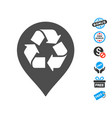 recycle map marker icon with free bonus vector image vector image
