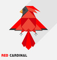 Red Cardinal Bird Triangle Low Polygon Style vector image