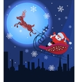 Santa claus and rudolf in christmas night
