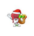 santa heart cartoon character with sacks gifts vector image vector image