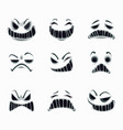 scary ghost faces on white background vector image vector image