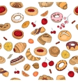 Seamless pattern with different pastry Different vector image vector image