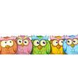 set cute funny mascot cartoon owls isolated vector image