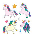set cute unicorns cartoons vector image