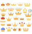 set golden crowns design vector image