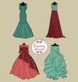 set of four pink red and blue evening dresses on vector image