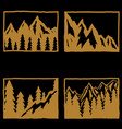 set of hand drawn hiking and tourism emblems vector image vector image
