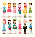set of women characters flat design ladies vector image vector image