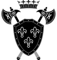 shield axes and crown stencil vector image vector image