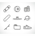 skateboard accessories icons set vector image vector image