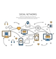 Social network outline concept of communication vector image vector image