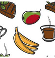 south african food fruits drink and meat seamless vector image vector image