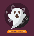 Spooky ghost greeting card vector image