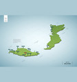 stylized map malaysia isometric 3d green map vector image