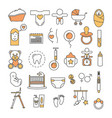 thin line art style design baby icon set vector image