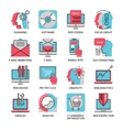 Thin line icons of media marketing advertising vector image vector image