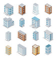 townhouse building icons set vector image vector image