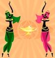 two oriental dancing girls vector image vector image
