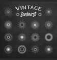 Vintage sunburst on chalkboard background vector image