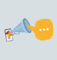 woman with megaphone and speesh bubble on white vector image