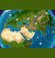 world map with aircraft paths vector image vector image
