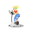 young woman in headphones training on an exercise vector image vector image
