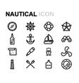 line nautical icons set vector image