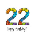 22th anniversary celebration greeting card vector image vector image