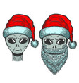 alien in santa claus hat on white background vector image