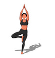 beautiful girl exercising yoga yoga asana vector image