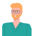 blond smiling man medical worker in surgical green vector image vector image