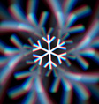 Blurred christmas snowflake sign with aberrations vector image