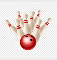 bowling strike skittles and ball isolated vector image