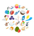 breakfast with tea icons set isometric style vector image