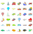 city vehicle icons set cartoon style vector image vector image