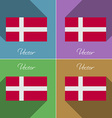 Flags Denmark Set of colors flat design and long vector image
