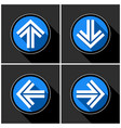 four white blue arrows with black shadows vector image
