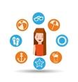girl character summer vacation icons set vector image