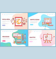 graphic and web design analytics and social media vector image